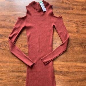 Papaya long sleeve open shoulder sweater dress